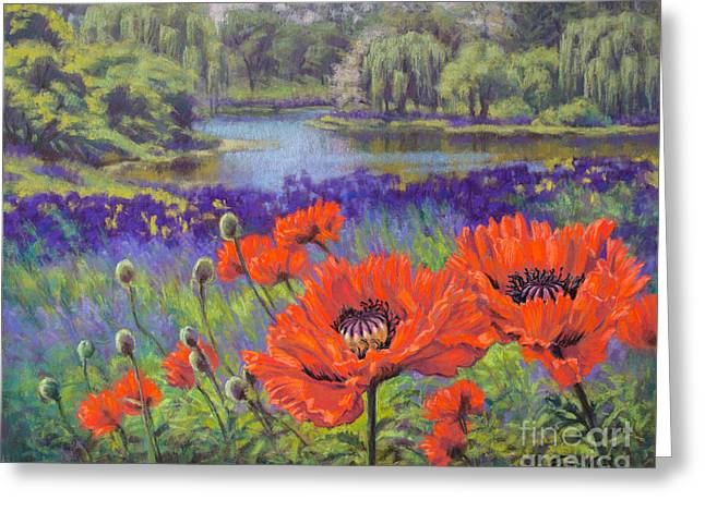 Chicago Botanic Garden Greeting Cards - Red Poppies 1 Greeting Card by Fiona Craig