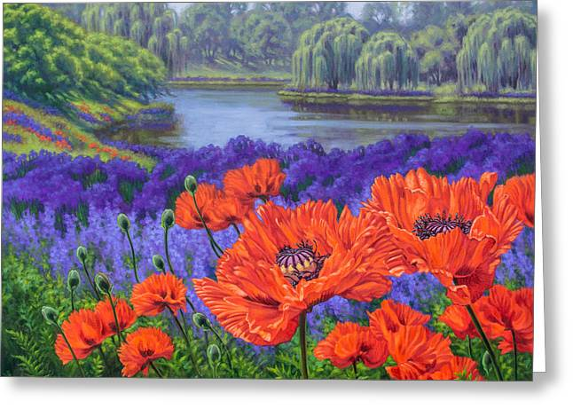 Red Poppies 2 Greeting Card by Fiona Craig