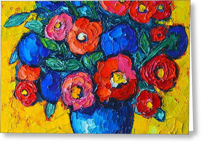 Green Abstract Greeting Cards - Red Poppies And Blue Flowers - Abstract Floral Greeting Card by Ana Maria Edulescu