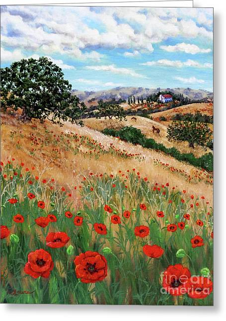 Italian Tuscan Greeting Cards - Red Poppies and Wild Rye Greeting Card by Laura Iverson