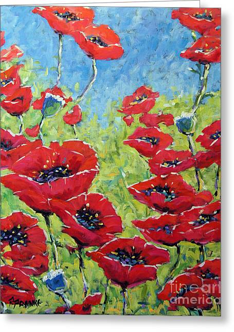 Montreal Paintings Greeting Cards - Red poppies by Prankearts Greeting Card by Richard T Pranke
