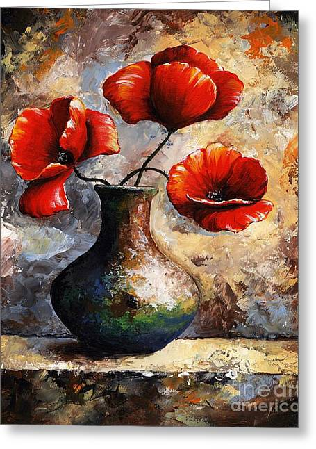 Artificial Flowers Greeting Cards - Red Poppies Greeting Card by Emerico Imre Toth