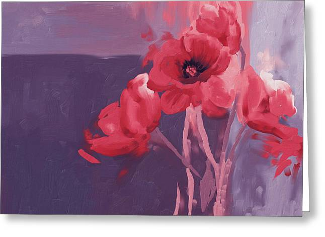 Red Poppies II Greeting Card by Mawra Tahreem