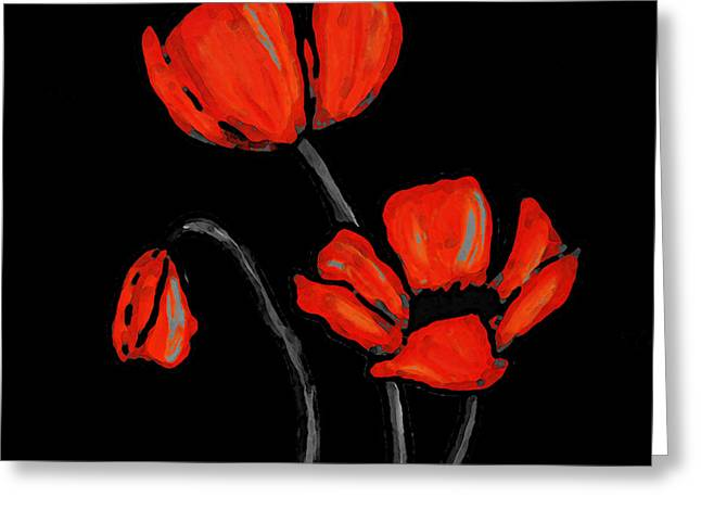 Poppies Prints Greeting Cards - Red Poppies On Black by Sharon Cummings Greeting Card by Sharon Cummings