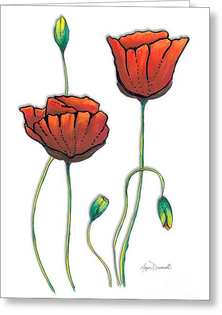 Licensor Greeting Cards - Red Poppies Painting Contemporary Unique PoP Art Style Poppy by Megan Duncanson Greeting Card by Megan Duncanson