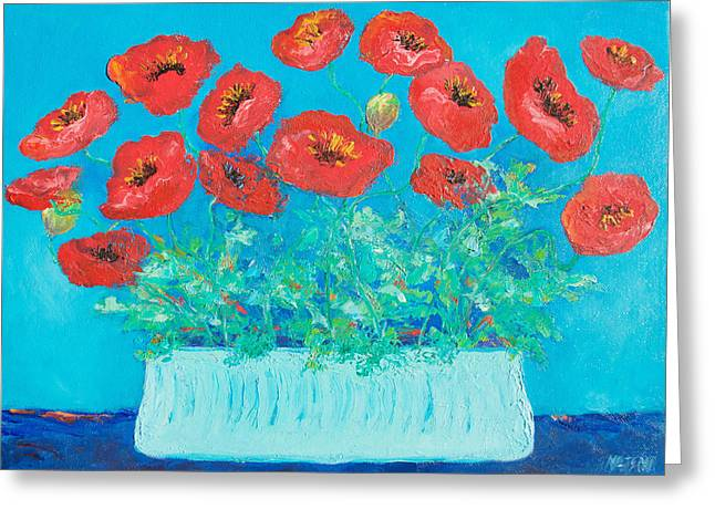 Poppies Greeting Cards - Red Poppies Still Life Greeting Card by Jan Matson