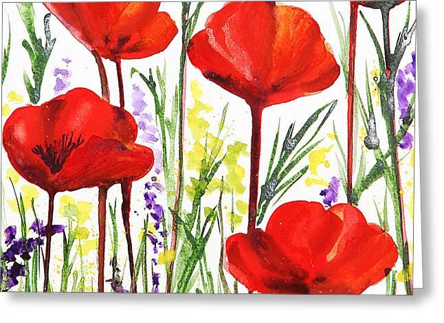 Red Poppies Watercolor By Irina Sztukowski Greeting Card by Irina Sztukowski