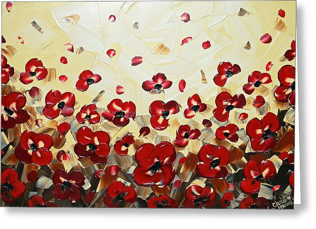 Contemporary Art By Christine Greeting Cards - Red Poppy Dance Greeting Card by Christine Krainock