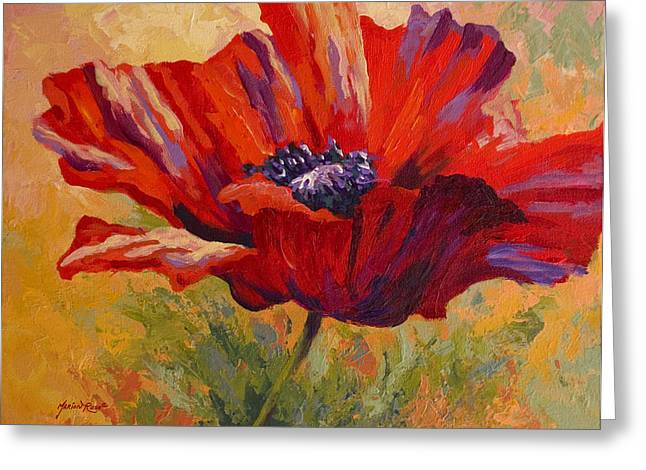 Vineyard Greeting Cards - Red Poppy II Greeting Card by Marion Rose