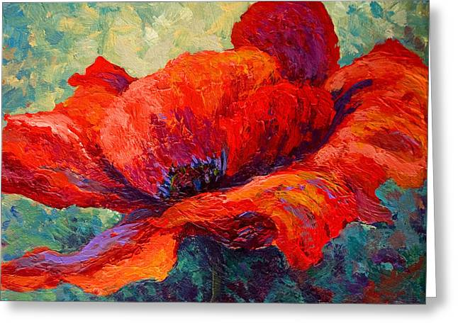 Landscape. Scenic Paintings Greeting Cards - Red Poppy III Greeting Card by Marion Rose
