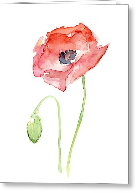 Simple Paintings Greeting Cards - Red Poppy Greeting Card by Olga Shvartsur