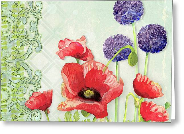 Red Poppy Purple Allium IIi - Retro Modern Patterns Greeting Card by Audrey Jeanne Roberts