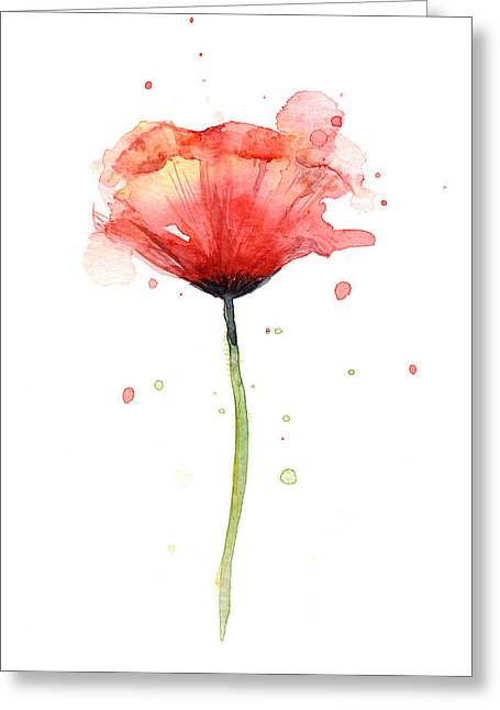 Red Poppy Watercolor Greeting Card by Olga Shvartsur