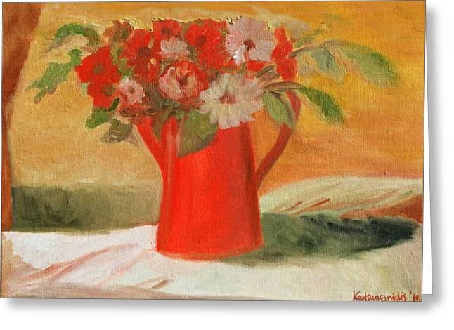 Kostas Koutsoukanidis Greeting Cards - Red Pot and flowers Greeting Card by Kostas Koutsoukanidis