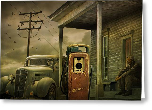 Warm Tones Greeting Cards - Red Pump with an Old Plymouth Auto at the Gasoline Station Greeting Card by Randall Nyhof