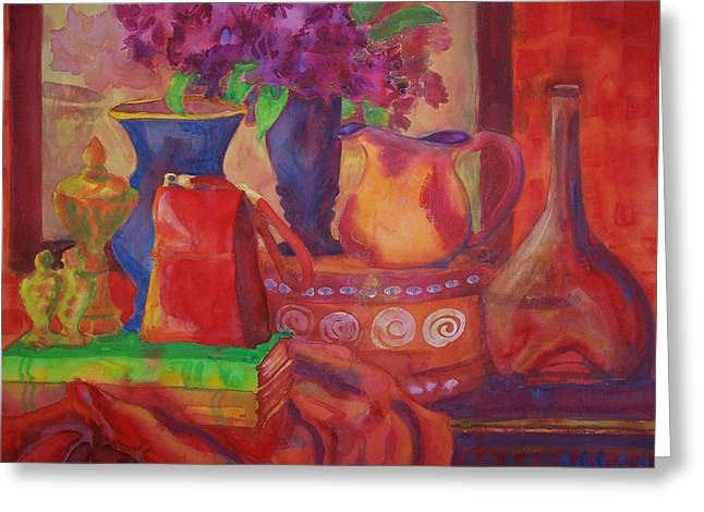 Pitcher Paintings Greeting Cards - Red Purse on Green Book Greeting Card by Blenda Studio