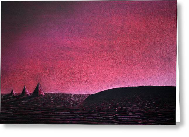 Burgundy Pastels Greeting Cards - Red Pyramid B Greeting Card by Mayhem Mediums
