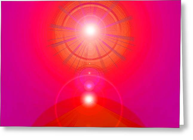 Basis-chakra Greeting Cards - Red-Pyramid-Light Greeting Card by Ramon Labusch