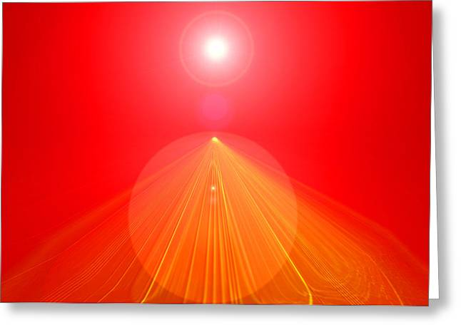 Basis-chakra Greeting Cards - Red-Pyramid Greeting Card by Ramon Labusch