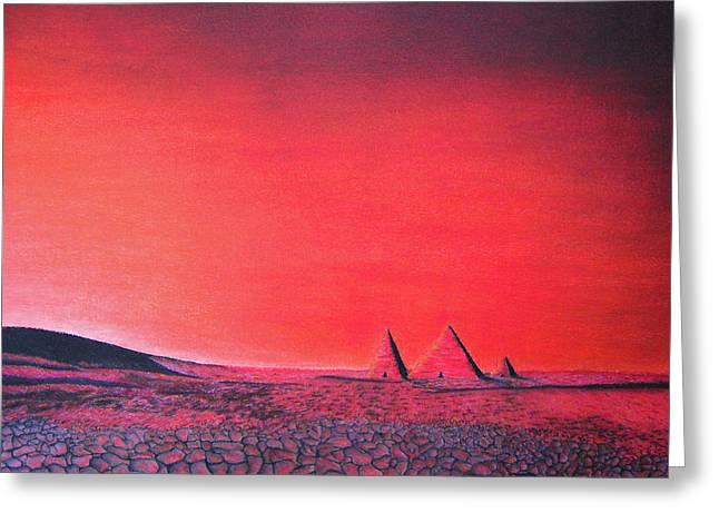 Science Pastels Greeting Cards - Red Pyramid W Greeting Card by Mayhem Mediums