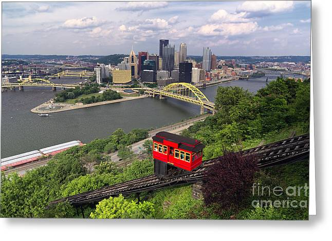 Incline Greeting Cards - Red Railway Car on the Duquesne Incline Greeting Card by George Oze