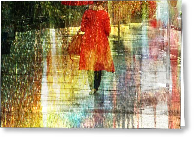Lemon Art Greeting Cards - Red Rain Day Greeting Card by LemonArt Photography