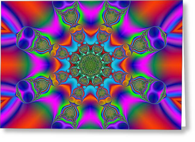 Geometric Image Greeting Cards - Red Ray Magic Mandala Greeting Card by Marv Vandehey