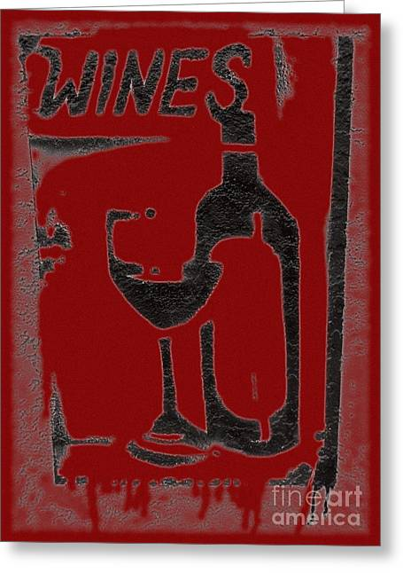 Red Wine Bottle Greeting Cards - Red red wine sign Greeting Card by Barbie Corbett-Newmin