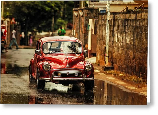 Red Retromobile. Morris Minor Greeting Card by Jenny Rainbow