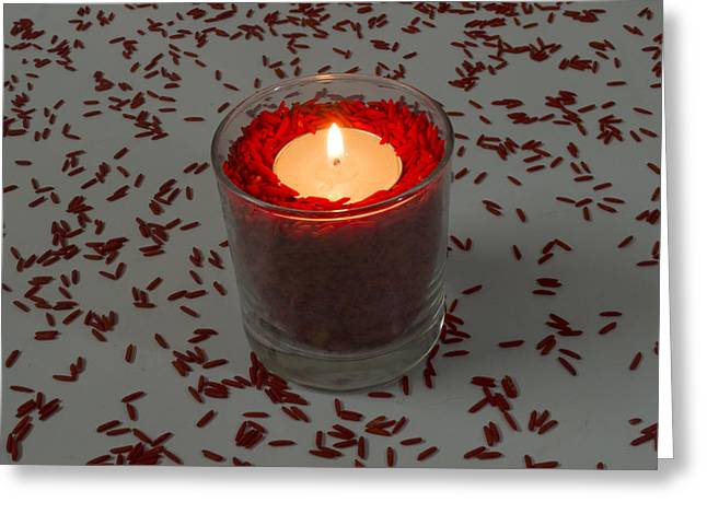 Red Rice Candle Greeting Card by Mohammed Mostafa