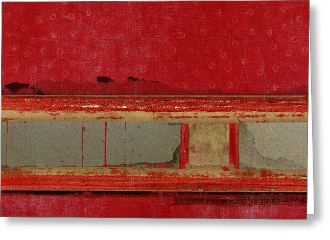 Greeting Cards - Red Riley Collage Square 1 Greeting Card by Carol Leigh