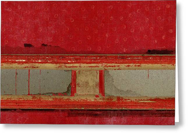 Greeting Cards - Red Riley Collage Square 2 Greeting Card by Carol Leigh
