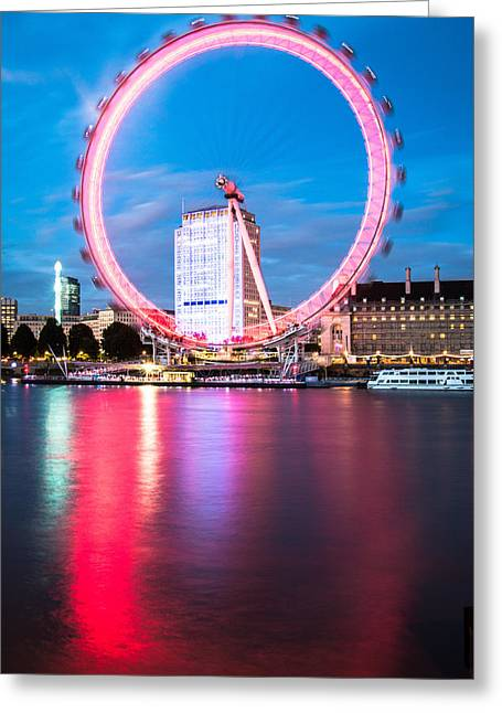 Londoneye Greeting Cards - Red Ring On The Embankment Greeting Card by Matthew Rattcliff