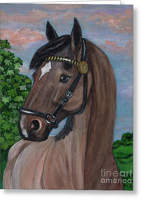 Polscy Malarze Greeting Cards - Red Roan Horse Greeting Card by Anna Folkartanna Maciejewska-Dyba