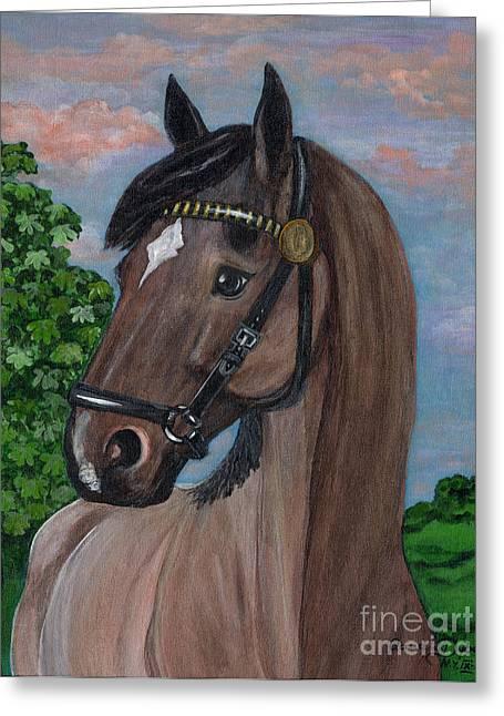 Polscy Malarze Paintings Greeting Cards - Red Roan Horse Greeting Card by Anna Folkartanna Maciejewska-Dyba