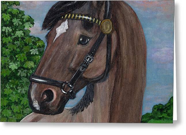Red Roan Horse Greeting Card by Anna Folkartanna Maciejewska-Dyba