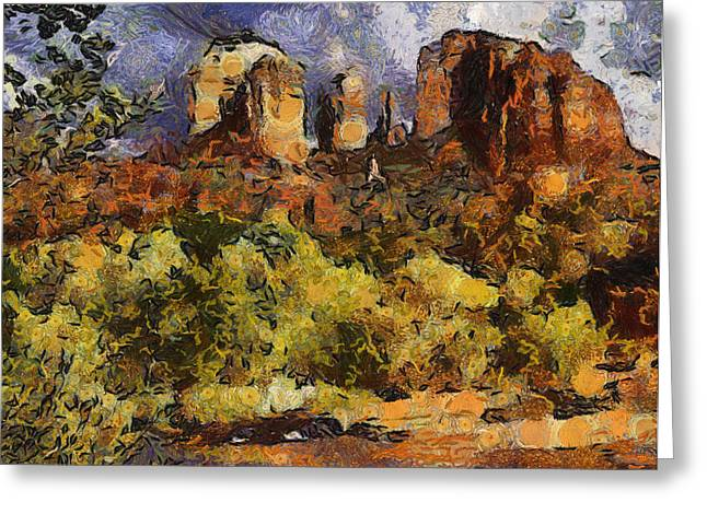 Red Rock Crossing Mixed Media Greeting Cards - Red Rock Crossing Greeting Card by Elaine Frink