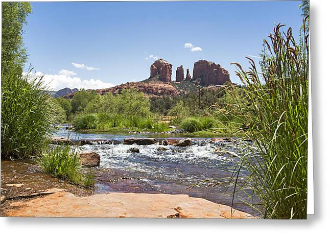 Red Rock Crossing Greeting Cards - Red Rock Crossing Greeting Card by Eridon Photography