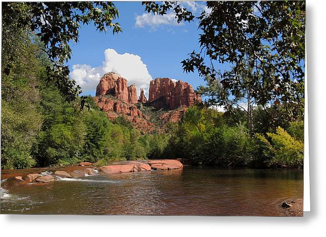 Red Rock Crossing Greeting Card by Gordon Beck