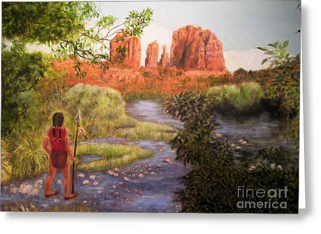 Red Rock Crossing Paintings Greeting Cards - Red Rock Crossing Greeting Card by Olga Silverman