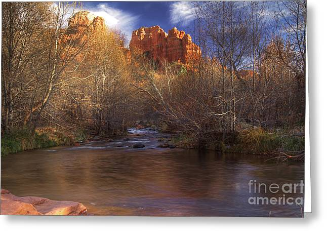 Red Rock Crossing Greeting Cards - Red Rock Crossing Greeting Card by Photography by Laura Lee