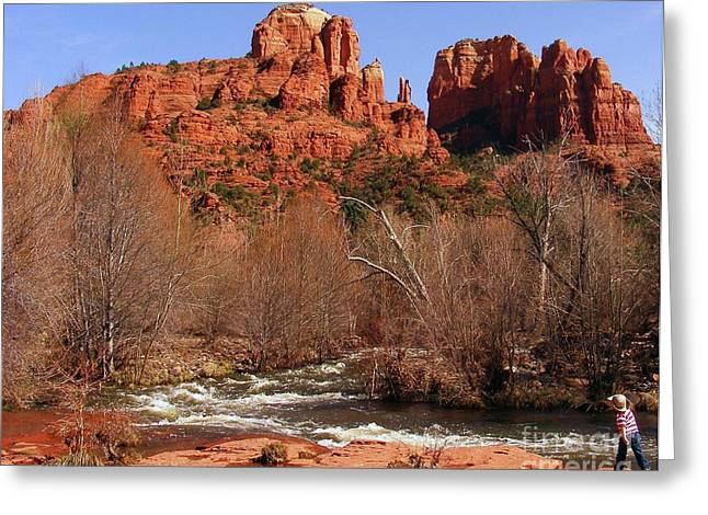 Best Sellers -  - Red Rock Crossing Greeting Cards - Red Rock Crossing Sedona Arizona Greeting Card by Marilyn Smith