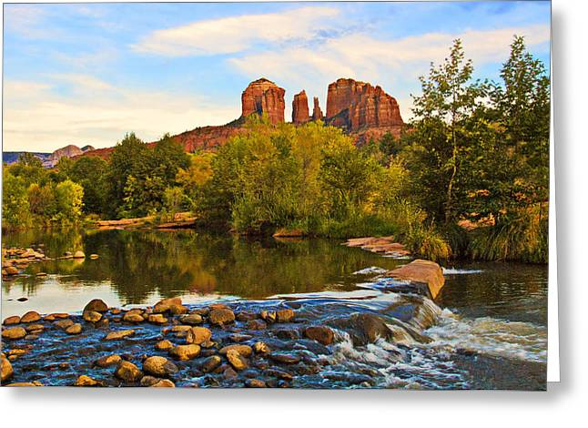 Red Rock Crossing Three Greeting Card by Paul Basile
