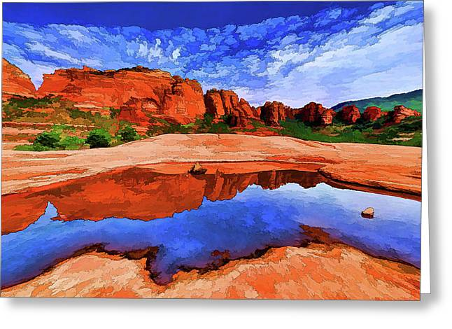 Red Rock Reflections Greeting Card by ABeautifulSky Photography