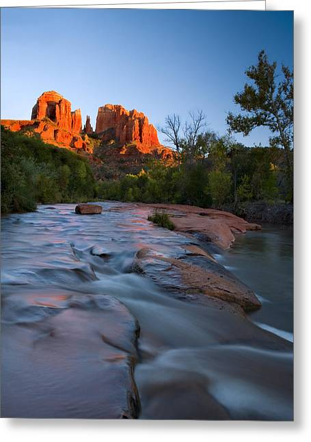 Cathedral Rock Photographs Greeting Cards - Red Rock Sunset Greeting Card by Mike  Dawson