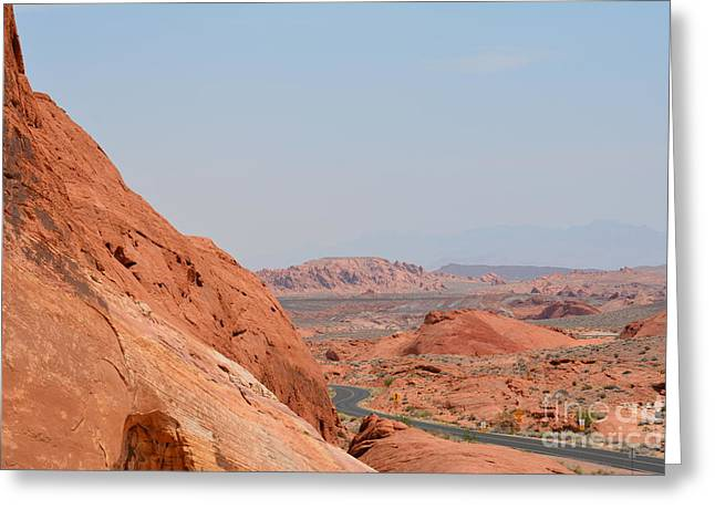 Boulders Tapestries - Textiles Greeting Cards - Red Rock View Greeting Card by Edna Weber