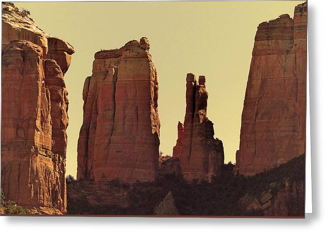West Fork Digital Greeting Cards - Red Rock Yellow Sky Greeting Card by Tim Coleman