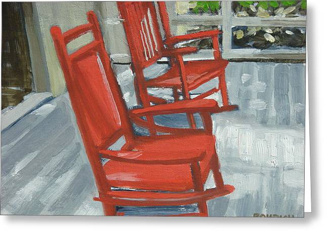 Quite Paintings Greeting Cards - Red Rockers Two Greeting Card by Robert Rohrich