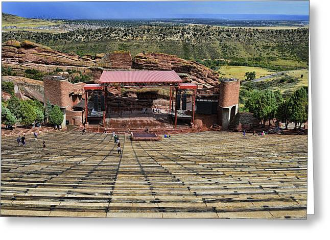 Open Air Theater Greeting Cards - Red Rocks Ampitheatre Colorado - photography Greeting Card by Ann Powell