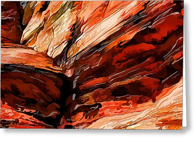 Red Rock Cliff Abstract Greeting Card by ABeautifulSky Photography